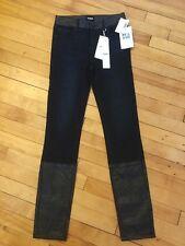 Hudson Jeans Girls Dark Wash Skinny Jeans W/ Fauz Leather Trim, Size 16, NWT!