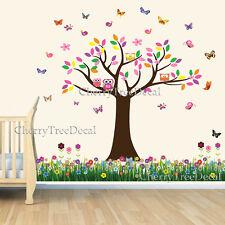 Butterfly Tree Owls Grass Wall Stickers Kids Decal Art Decor Nursery Baby Room