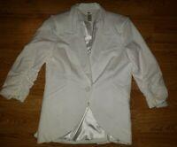 Women's Size Medium Boutique Esley white Blazer Ruched Sleeves suit jacket