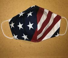 Cloth Face Mask American Flag, handmade in USA, nose wire, pocket filter, Cotton