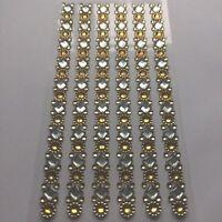 Glitzer-Strasssteine Sticker selbstklebend, 6 Reihen, Farben: silber gold
