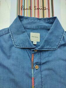 Paul Smith Embroidered Artist Stripe Denim Shirt - 15 Inch Collar - Size Small