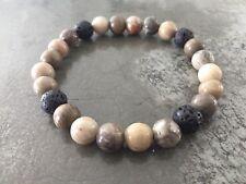 Essential Oil Diffuser Lava Rock Aromatherapy Petoskey Stone Fossil Bracelet