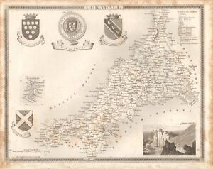1840 ANTIQUE MAP - CORNWALL BY THOMAS MOULE