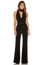 049502a0c7f9 NEW HALSTON HERITAGE Black Scarf Detail Belted Tailored Dress Pants Jumpsuit  10