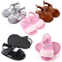 AU_ Cute Newborn Baby Girl Plush Soft Sole Crib Shoes Faux Fur Slippers Pram San