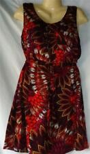 Women's Burgundy Flowered Sleeveless Dress Size Large NWT