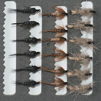18 Nymphs Trout Fly Fishing Flies GRHE, Pheasant Tail & Black Nymph-Dragonflies