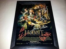 """THE HOBBIT 2: DESOLATION OF SMAUG PP CAST SIGNED & FRAMED 12""""X8"""" A4 PHOTO POSTER"""