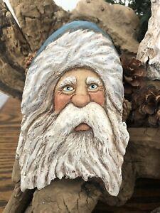 WOOD Carved Sweet Face Blue Hat SANTA Orn -Lisa Rogers Original Wood Carving