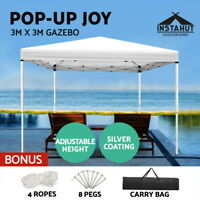 Instahut Gazebo Pop Up Marquee 3x3 Outdoor Wedding Tent Folding Gazebos White