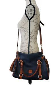 Dooney & Bourke Florentine Leather Crosdbody Bag. Navy Medium