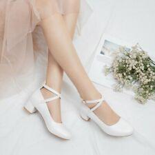 Women Round Toe Mary Jane Block Heels Pump Girl Cross Strap Buckle Lolita Shoes