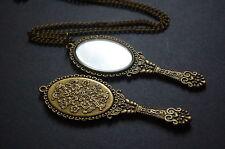 Antique bronze hand mirror necklace kitsch vintage