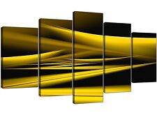 Extra Large Yellow and Black Abstract Canvas Art - 5 Panel