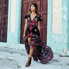 2017 Retro Female Lady Floral Dress V-Neck Front Open Long Party Dress US Stock