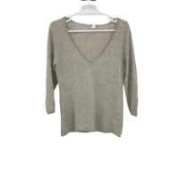 J.Crew Womens Long Sleeve V Neck Cotton Beige Pullover Sweater Size Large