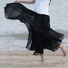 New Women Boho Elastic Double Layer Chiffon Long Maxi Dress Beach Sundress Skirt