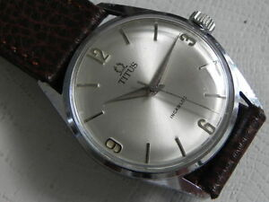 VINTAGE TITUS INCABLOC STAINLESS STEEL BACK WINDING MEN'S WATCH