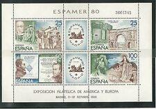 ESPAÑA SPAIN Nº 2583 1980 HOJITA ESPAMER ' 80 EXP. FILATÉLICA MHN EDIFIL 2579 HB