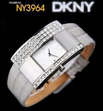 DKNY LADIES TOP MODEL CRYSTALS WATCH GREY LEATHER WATCH NY3964