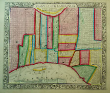 1860 Genuine Antique Map of the city of Philadelphia, Pa. A Mitchell