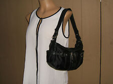 "Furla Black Nylon & Leather Hobo Shoulder Handbag  - 12"" x 7"""