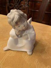 Lladro Porcelain Figurine #4539 Sitting Thinking Angel Cherub Boy Spain Matte