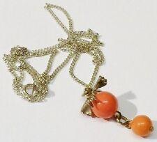 pendentif chaine rétro perles orange pampille bijou vintage couleur argent *5094
