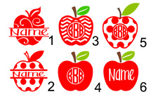 Personalized Teacher Apple Monogram 3x3