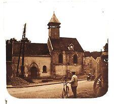Auvers-sur-Oise L'église Saint-Quentin Naze France stéréo Positif Vintage 1921