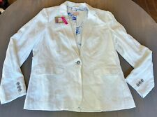 Joules Clothing Great Britain White Linen Jacket/Blazer Sailboat Lining 14 NWT