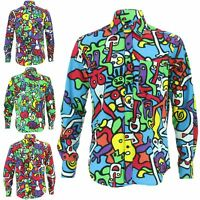 Mens Shirt Loud Originals Cotton REGULAR FIT Long Sleeve TIFFY PRINT Retro Dance