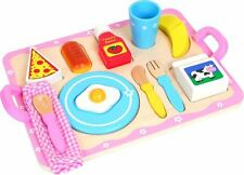 Lelin Legno In Legno Colazione Cereali Vassoio Cucina Giocattolo per Bambini 15 PEZZI