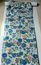 Blue Floral Curtains. 55% Flax, 45% Linen. 54 Inch Wide x 62 Inch Long. V.G.C.