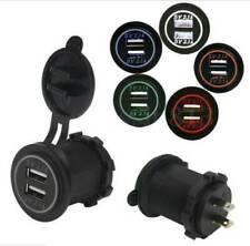 12V/24 Waterproof Dual USB Port Car Lighter Socket Plug LED Voltmeter Adapter CA
