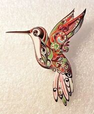 Hummingbird Large Multicolor Floral Acrylic Pin Brooch Jewelry