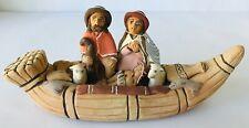 Folk Art Clay Sculpture Nativity Scene Holy Family in Canoe Jesus Mary Joseph