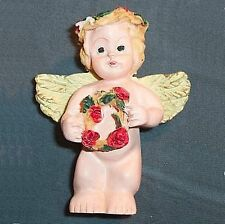 Lot of 6 small resin angel statues with flowers B15