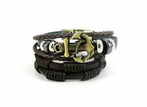 Mens bracelet Streetsoul Antique Metal Gold Anchor Brown Leather Wristband