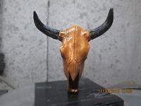 texas longhorn skull  hand painted  ratrod hotrod car hood ornament