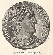 B2406 Medaglia di Valentiniano II - Incisione antica del 1931 - Engraving