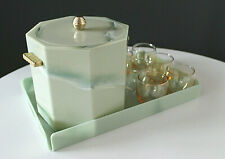 Mid Century Georges Briard Faux Persian Green Marble Lucite 8 Piece Barware Set