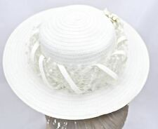 Vintage Christian Dior Chapeaux Straw Ivory Wide Brim Tulle