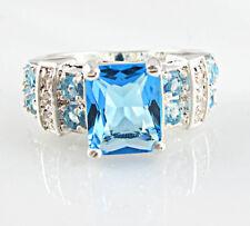 Gorgeous Women 925 Silver Jewelry Princess Cut Aquamarine Wedding Ring Size 10