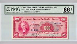 COSTA RICA 1000 Colones,  1974   P-226c,  PMG 66 EPQ Gem UNC