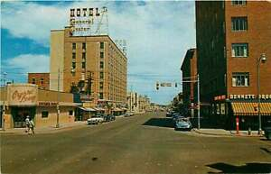 Postcard Looking East on 1st Avenue North, Billings, Montana - circa 1950s