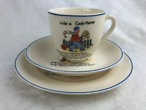 VINTAGE CHILDRENS TRIO MADE IN JAPAN - RIDE A COCK-HORSE - CUP, SAUCER & PLATE