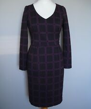 Purple Plum Geometric Print Jersey Dress BODEN Size 12 L stretch long sleeves