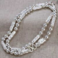 New Pure S999 Sterling Silver Chain Men Dragon Head Column Bead Link Necklace